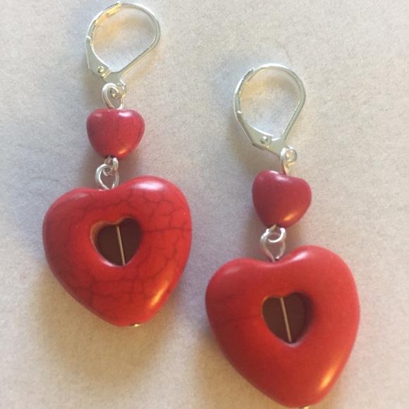 Red Double Hearts Howlite Earrings, Handma…